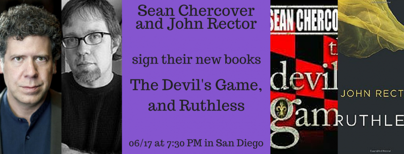 John Rector And Sean Chercover Sign In San Diego Mysterious Galaxy