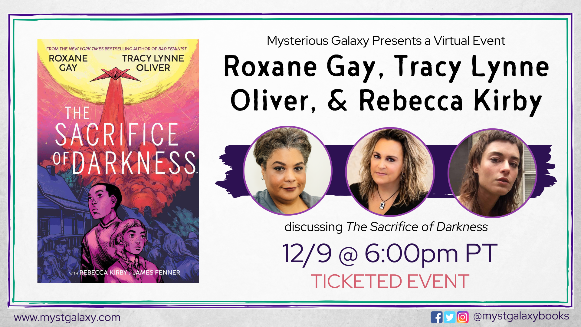 Cover of The Sacrifice of Darkness banner with portraits of Roxane Gay, Tracy Lynne Oliver, and Rebecca Kirby